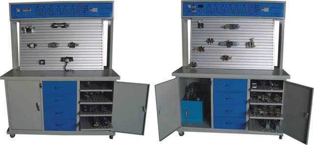 YQ-A透明气动液压PLC综合控制实验台 一、概述 YQ-A气动液压PLC综合控制实验台是我公司根据高校机电一体化对气、电、液控制的教学大纲要求,在我公司透明液压产品的基础上,综合了我们公司气动PLC控制实验设备的优点,采用YQ-A开放型综合实验台结构,广泛征求各大院校专家教授与老师的意见,经过不断创新改进研制而成的。是目前集气动控制技术、液压传动控制技术以及PLC可编程控制器控制技术于一体的理想的综合性实验室设备。实验时,他们可以相辅相成,交叉控制。可以让学生直观、感性的对比、了解、电、液各自具有的特点