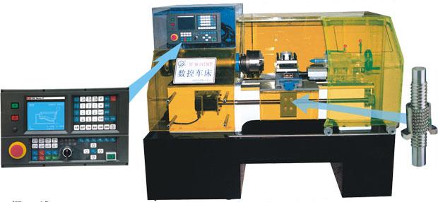 ZY-XKC6136型车床是中义科教设备有限公司最新研制的教学科研用数控机床。 该机床是典型的机电一体化产品,除采用稳定可靠的K1TB-II-E车床用数控系统外, 硬件配置更具有相当的刚性、强度及制造精度;同时,其外形美观大方,主轴箱盖 及防护体均采用进口有机透明材料制作而成,使机床主要内部结构及传动线路一目 了然,是各相关科研院所、高职学院及技术学校理想的实验设备。采用四工位自动 回转刀架,通过编程对各种轴类,盘类等塑料零件能自动完成加工任务,如外圆柱 面、圆锥面、圆弧面、螺纹等工件的切削加工,并